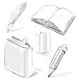 Books with pen and pencil office stuff set vector