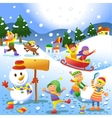 Cute kids playing winter games vector