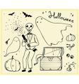 Halloween set outline elements ghosts skeleton bat vector