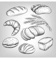Hand drawn bakery icons set vector