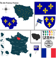 Map of ile de france vector