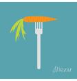 Carrot on fork diet concept menu cover flat design vector
