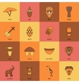 Africa icons line flat vector