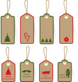 Collection of christmas card tag label on paper vector