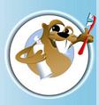 Beaver cleaning teeth vector