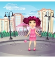 City promenade with a teen girl in a pink dress vector
