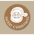 Round woody christmas greeting with santa face vector