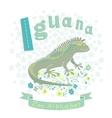 Letter i - iguana vector