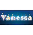 Vanessa written with burning candles vector