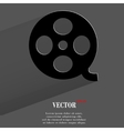 Film flat modern web button with long shadow and vector