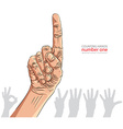Numbers hand signs set number one detailed vector