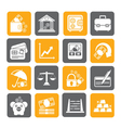 Silhouette business and bank icons vector