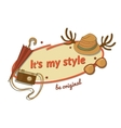 Hipster woman stylish label with contemporary vector