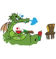 Drawing of a dragon watching tv with a glass of wi vector