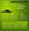 Web site for business green with green sprout vector