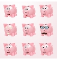Piggy bank emotions vector