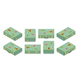Set of lying green travelers suitcases vector