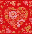 Red seamless pattern with flower hearts vector