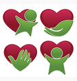 People and hearts vector
