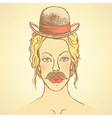 Sketch cute woman with hat and mustache vector