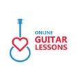 Heart guitar logo or icon vector