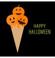 Ice cream with pumpkin happy halloween card vector