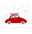 Family traveling by red car with skis vector
