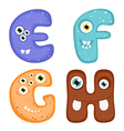 Funny toothy monster alphabet from e to h vector