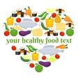 Various foods in heart shape arrangement vector