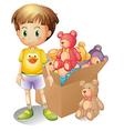 A boy beside a box of toys vector