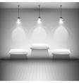 Tree illuminated shelves in the room vector
