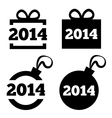 New year 2014 black icons christmas gift ball vector