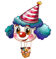 A big clown balloon with a basket full of kids vector