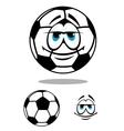 Black and white happy cartoon soccer ball vector