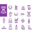 Shopping love heart with set of fashion vector