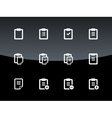 Clipboard icons on black background vector