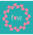 Round love frame with pink hearts flat design styl vector