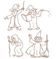 Four wizards vector