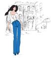 Fashion girl in sketch vector
