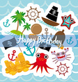 Happy birthday card pirate cute party invitation vector