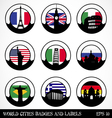 Cities badges and labels vector