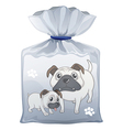 A plastic pouch with a picture of two cute dogs vector