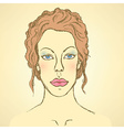 Sketch cute woman face vector