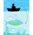 Fisherman catching the fish vector