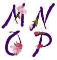 Spring alphabet with gentle sakura flowers mnop vector