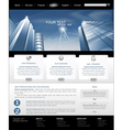 Web site is black and blue with building for busin vector
