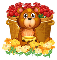 A bear in front of the basket with red roses vector