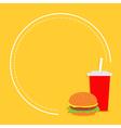 Hamburger and soda with straw cinema round frame vector