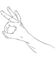 Okay hand sign detailed black and white lines vector