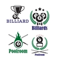 Billiards or poolroom emblems vector